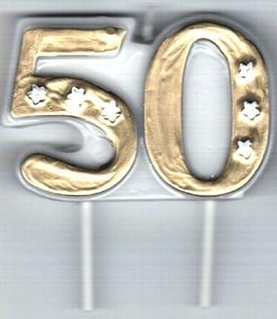 Amscancarpeta 2x Zahlenkerzen In Gold 11cm X 9cm Groß