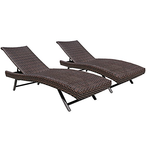 Outdoor Patio Double Chaise Lounge Chair, Adjustable Brown PE Wicker Chaise Lounge Chair,Buy Two Lounge Chairs Get Two Cushions&Pillows