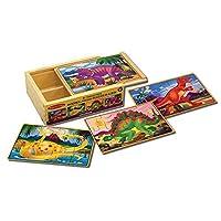 """Rompecabezas de dinosaurios Melissa y Doug en una caja, cuatro rompecabezas de madera, hermosas ilustraciones, caja de almacenamiento de madera resistente, 12 piezas, 8 """"Alt. X 6"""" An. X 2.5 """"L"""