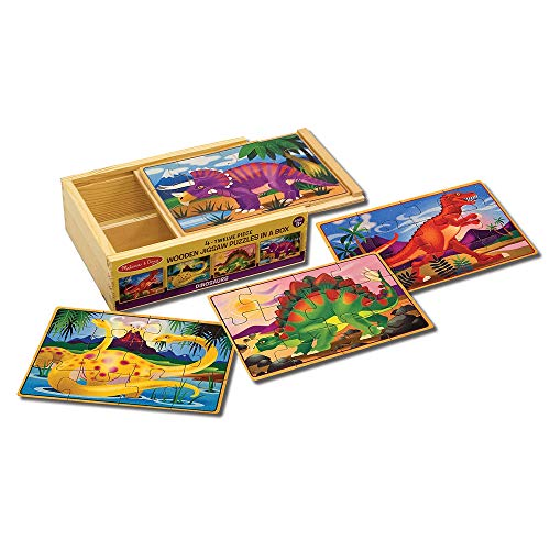 Melissa & Doug Dinosaurs 4-in-1 Wooden Jigsaw Puzzles in a Storage Box (48 pcs) (Box Preschool Toy)