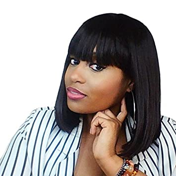Bob Wig With Bangs Full Bob Wigs For Black Women short Straight Wigs  Kanekalon Hair Free Wig Cap 14 Inches
