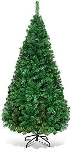 CASART – Albero di Natale verde con supporto in metallo, decorazione artificiale per interni ed esterni, 1,5 m/1,8 m (2,1 m)