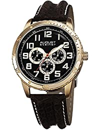 August Steiner Men's AS8116YG Multifunction Gold-Tone and Brown Leather Strap Watch