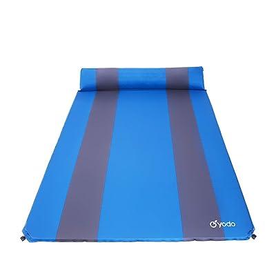 Même Matelas gonflable feuchtigkeitsabweisend Matelas gonflable portable Camping Tapis isolant Tapis Tapis avec oreiller avec pour le camping, 3cm d'épaisseur deux personnes Bleu