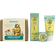 Badger Essential Baby Gift Set - Contains Diaper Cream, Calming Baby Oil and Baby Balm