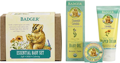 Badger Essential Baby Gift Set - Contains Diaper Cream, Calming Baby Oil and Baby ()