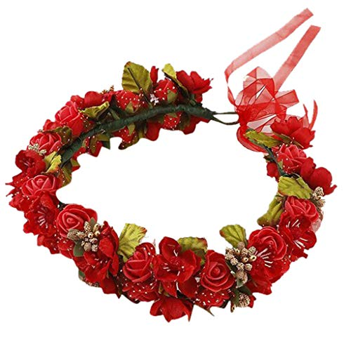 Pengy Womens's Bridal Flower Garland Headband Flower Crown Hair Wreath Halo Ladies Wedding Hair Decor Red ()