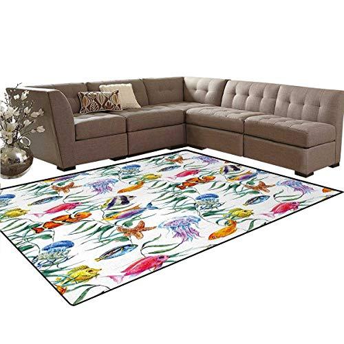 - Jellyfish,Carpet,Tropical Coral Reef with Seaweed Algae Jellyfish Aquatic Saltwater Nemo Theme,Indoor/Outdoor Area Rug,Multicolor,5'x7'