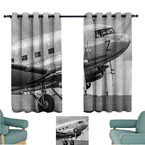 DONEECKL Customized Curtains Vintage Airplane Old Airliner Cockpit Antique Engine Propellers Wings and Nostalgia Image Blackout Draperies for Bedroom Living Room W63 xL72 Grey -