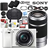 Sony Alpha a6000 Mirrorless Digital Camera with 16-50mm & 55-210mm Lens (White) ILCE-6000L/W with Extra Battery Case Memory Deluxe Pro Bundle