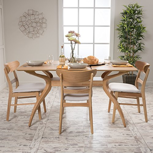 Isador Mid Century Fabric & wood Finish 5 Piece Dining Set (Oak/Light Beige)
