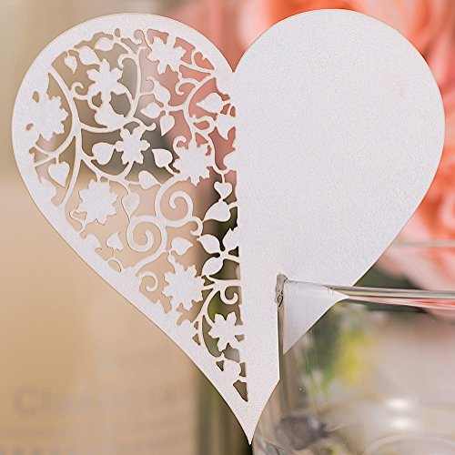 Premium 50pcs Wedding Place Table Name Cards 3D Laser Cut Love Heart Seating Card Party Wine Glass Cup Decoration for Bridal Baby Shower Engagement Birthday Tea Party Graduation Favor (White 1)