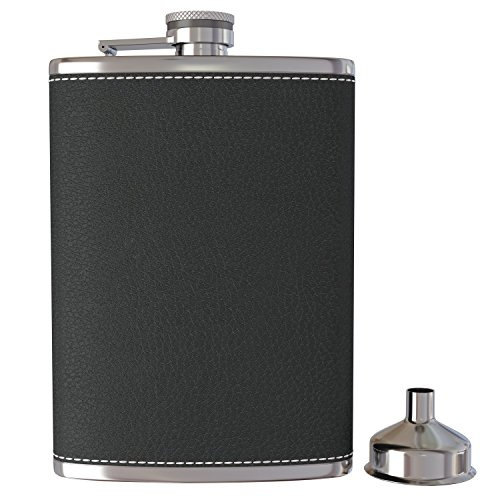 Pocket Hip Flask 8 Oz with Funnel - 18/8 Stainless Steel with Black Leather Wrapped Cover and 100% Leak Proof - Fits any Suit for Discrete Liquor Shot Drinking