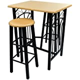 vidaXL Breakfast/Dinner Table Dining Set Tan Wood with Black Steel Home Chairs