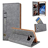 Hulorry Galaxy S8 Case Wallet Shockproof, Wallet Case Heavy Duty Shockproof Card Holder Case Dual Layer Design with Card Slot & Cash Premium PU Leather for Samsung Galaxy S8