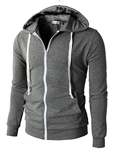 H2H Mens Fashion Lightweight Zip-up Hoodie with Pocket Of Various Colors GRAY US L/Asia XXL (JNSK24)