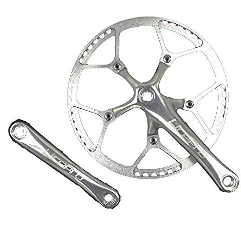 Single Speed Crankset Set 56T 170mm Crankarms 130 BCD Litepro Folding Bike Crankset with Protective Cover for Single Speed Bike, Track Road Bicycle, Fixed Gear, Fixie, Dahon (Square Taper, - 170 Mm Arm Set