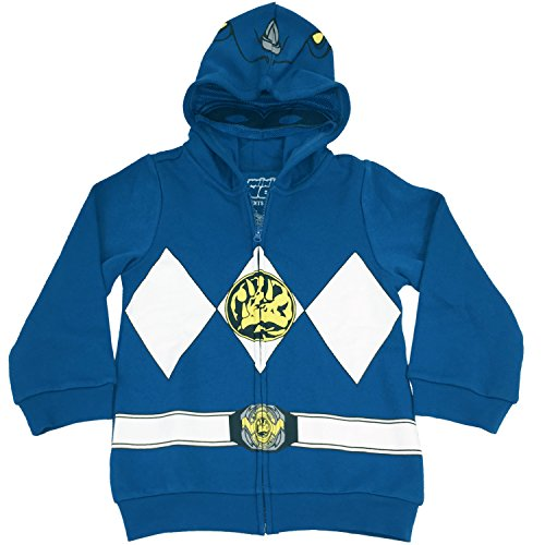 The Power Rangers Little Boys I Am Costume Zip Hoodie Blue 5 (Blue Power Ranger Costume)