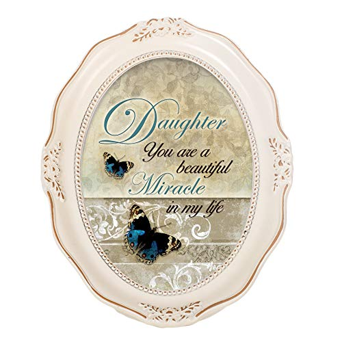 Cottage Garden Daughter Beautiful Miracle Distressed Ivory Wavy 5 x 7 Oval Table and Wall Photo Frame ()