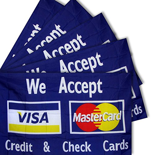 """5-pack of NEOPlex """"WE ACCEPT CREDIT AND CHECK CARDS"""" 3' x 5'"""