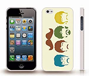 iStar Cases? iPhone 5/5S Case with Mustache and Famous Quartet Design , Snap-on Cover, Hard Carrying Case (White)