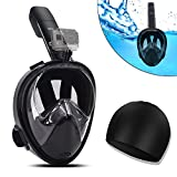 (US) Snorkel Mask Easybreath Full Face the Seaview 180 degree Snorkeling Mask for GoPro/Free Easy Breath Anti-Leak & Anti Fog Scuba Diving Mask for Adults with Adjustable Head Straps + Portable Bag