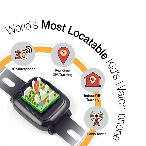 Smart Watch Phone for Kids - Ultimate 3G Smartwatch with GPS Tracker, Touchscreen, Camera, Touch SOS Remote Alarm, Fitness Trackers, Waterproof Cell Phone Watches for Girls Boys by myFirst Fone-Black by Oaxis (Image #1)