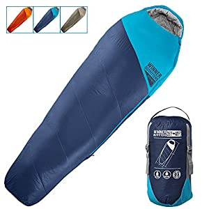 "Winner Outfitters Mummy Sleeping Bag with Compression Sack, It's Portable and Lightweight for 3-4 Season Camping, Hiking, Traveling, Backpacking and Outdoor (Navy Blue/Deep Petrol Blue, 32""W x 87""L)"