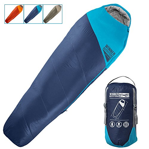 Winner Outfitters Mummy Sleeping Bag with Compression Sack, It's Portable and Lightweight for 3-4 Season Camping, Hiking, Traveling, Backpacking and Outdoor (Navy Blue/Deep Petrol Blue, 32'W x 87'L)