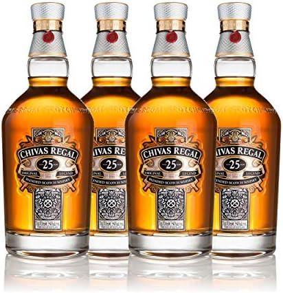 Chivas Regal Juego de 4 vasos de whisky escocés de 25 años, whisky, chupito, alcohol, botella, 40 %, 4 x 700 ml