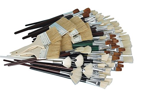 Sax Jumbo White Bristle Short Handle Paint Brushes, Assorted Sizes, Pack of 72