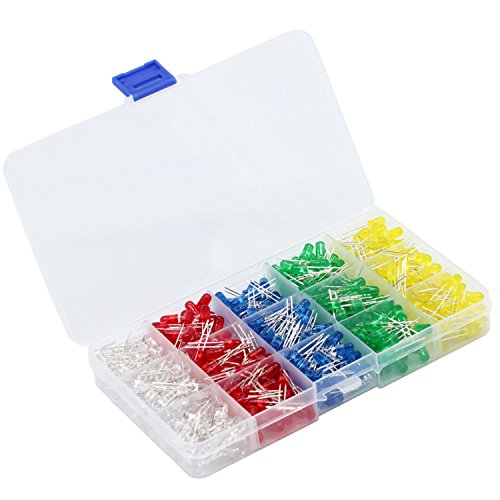 PoiLee LED Light Emitting Diodes 500pcs (5 colors x 100pcs) 5mm LED Diode Assorted Kit Color White/Red/Yellow/Green/Blue