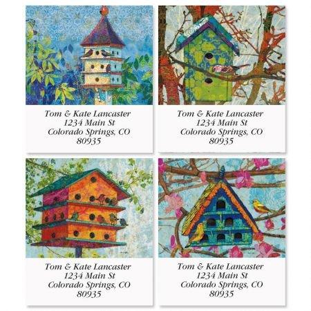 (Birdhouse Village Square Return Address Labels (4 Designs) - Set of 144 1-1/8