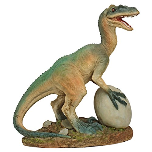 Design Toscano The Egg Beater Raptor Dinosaur Statue, Full Color