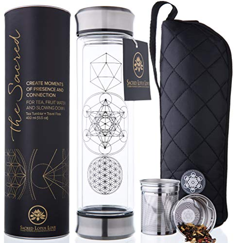 The Sacred Glass Tea Infuser Bottle + Strainer for Loose Leaf, Herbal, Green or Ice Tea. 415ml/14oz Cold Brew Coffee Mug + Fruit Infusions tumbler. Free Quilted and Neoprone Sleeves