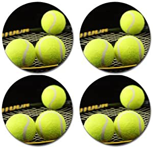 Tennis Rubber Round Coaster set (4 pack) Great Gift Idea