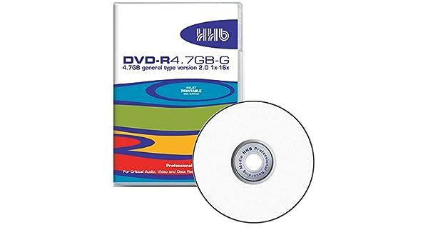 HHB DVD-R - Caja para DVD (4,7 GB, Doble Capa, impresión de inyección de Tinta Blanca Profesional, Velocidad de Escritura 1x-16x, 7 mm): Amazon.es: Electrónica