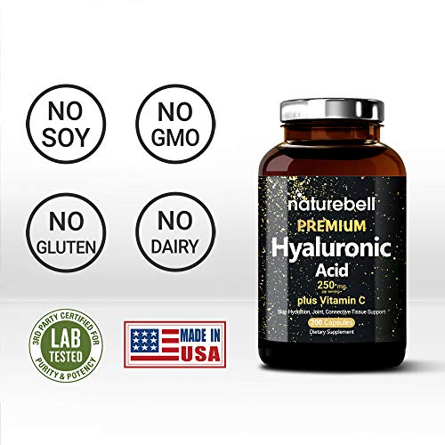 Maximum Strength Hyaluronic Acid Supplements, 250mg per Serving + Vitamin C, 200 Capsules, Supports Skin Hydration, Joints Lubrication and Antioxidant, Non-GMO and Made in USA
