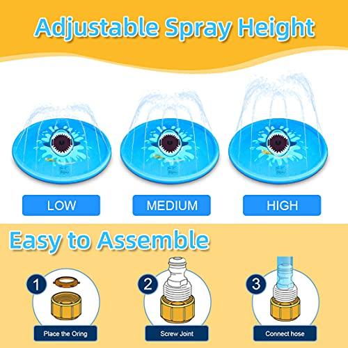RAKEESA Sprinkler for Kids, Sprinkler Pad & Splash Play Mat 68\