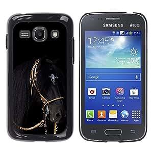 FlareStar Colour Printing Horse Black Gallop Mane Stallion Harness cáscara Funda Case Caso de plástico para Samsung Galaxy Ace 3 III / GT-S7270 / GT-S7275 / GT-S7272