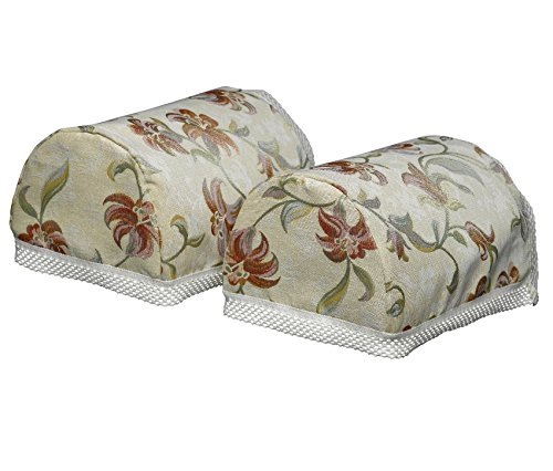 Classic Home Store Tropicana Decorative Pair of Round Arm Caps Floral Antimacassar Lattice Trim Furniture Cover by Classic Home Store