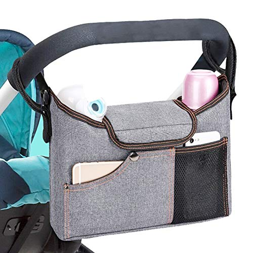 Stroller Model - Universal Stroller Organizer Bag w/ 2 Deep Cup Holders Extra-Large Storage Space for Phones, Wallets, Diapers, Toys, Baby Accessories-Fit All Stroller Models and pet Strollers (Grey)