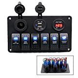 TurnRaise 6 Gang Rocker Switch Panel Circuit Breaker + Dual USB Power Charger Adapter + 12V Cigarette Socket + Digital Voltmeter for Car Boat Marin