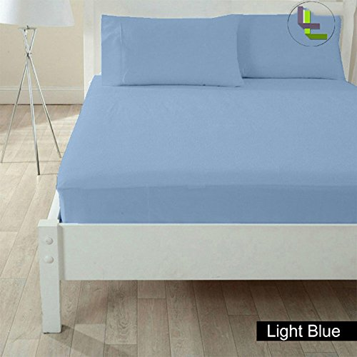 Floris Fashion Twin 400TC 100% Egyptian Cotton Light Blue Solid Superb Finish 3PCs Fitted Sheet Solid(Pocket Size: 11 inches)