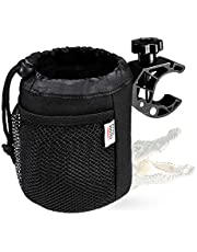 KEMIMOTO Boat Cup Holder, Adjustable Drink Holder with Drain and Alligator Clip for Stroller Wheelchair Walker Bike Motorcycle ATV Marine Golf Cart, 600D Oxford Fabric, Black