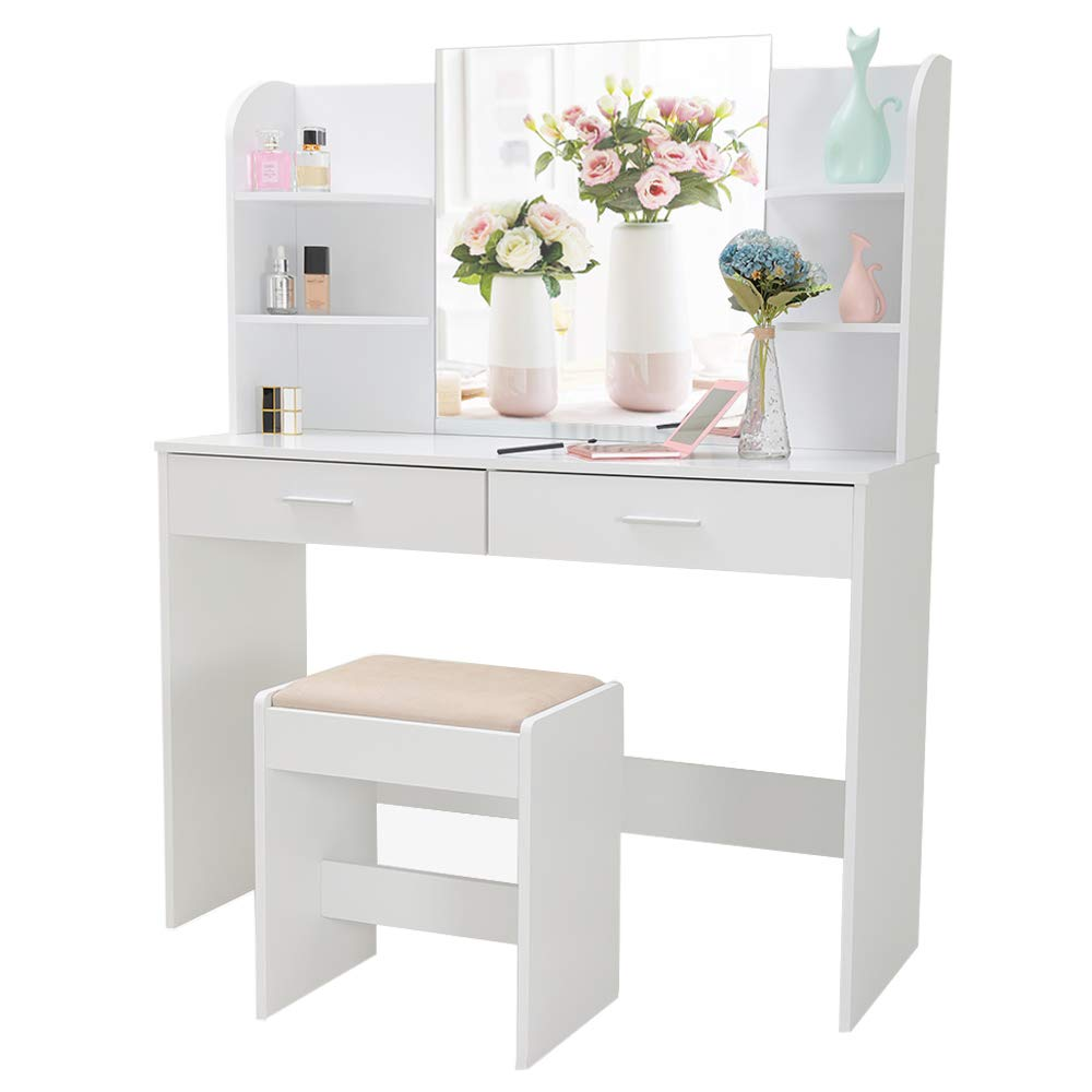 Large Vanity Set with Mirror & Cushioned Stool, Makeup Table Vanity Dressing Table, 2 Large Drawer, 6 Storage Shelves, for Bedroom, Bathroom, White by usikey