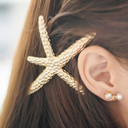 Ella-jewelry Fashion Stylish Metal Starfish Hairclip Special Sea Lover Star Hair Clip for Women Girl Baby