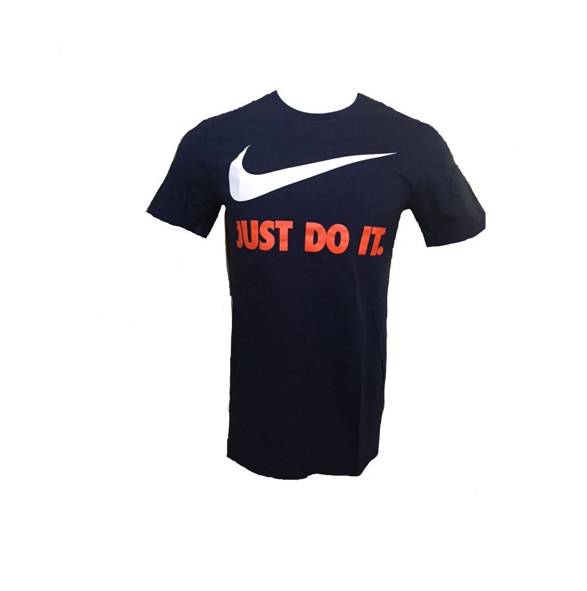 Nike Men's Sportswear New Just Do It Swoosh Tee (Small, Navy Blue/White/Red)