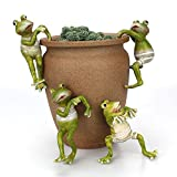 Aolvo Frog Yard Decorations, Resin Adorable Frog Miniature Fairy Garden Decor Plant Pot Sitter Hanger, Handmade Art Craft Potted Ornament for Patio Lawn Yard Gardening Bonsai Decor (Set of 4)