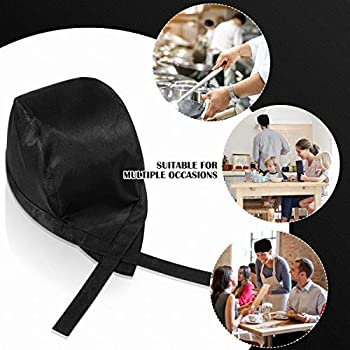 DOITOOL 1PCS Black Chef Hat for Adults with Adjustable Bands,Kitchen Cooking Chef Cap Unisex Chef Hat for Men or Women Black
